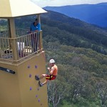 Abseiling at the La Trobe University climbing facilities