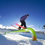 Hitting up the rails in the terrain parks
