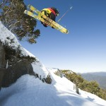 Getting some air above the beautiful scenery of the High Country surrounding Mt Buller.