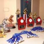 Race weekend trophies and medals