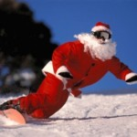 Santa snowboarding at Mt Buller