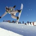 Snowboarding in half pipe at Mt Buller