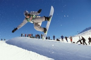 Snowboarding in half pipe at Mt Buller