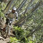Negotiating a mountain biking track at Corn Hill